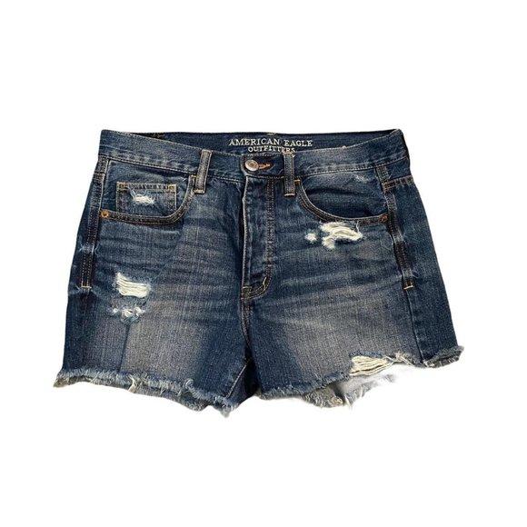 American Eagle 4-Button Cut-Off Denim Shorts